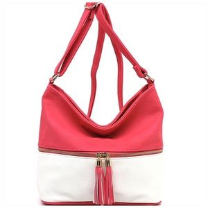 Zip Colorblock Crossbody Bucket Satchel